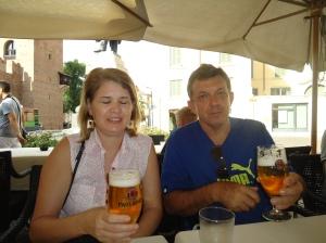 Tomando cerveja em Verona